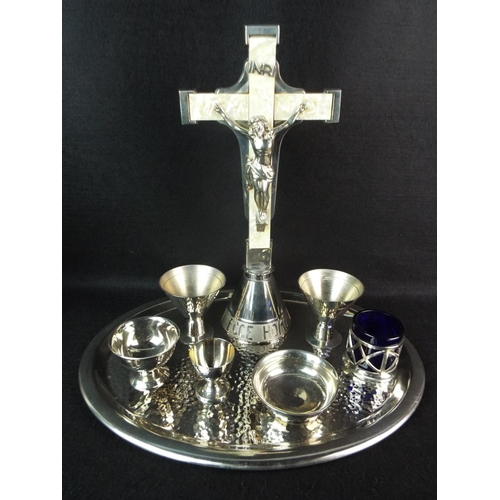51 - Stainless steel 'Sacrement to the sick' with MOP inlay to the cross. 13 inches tall....