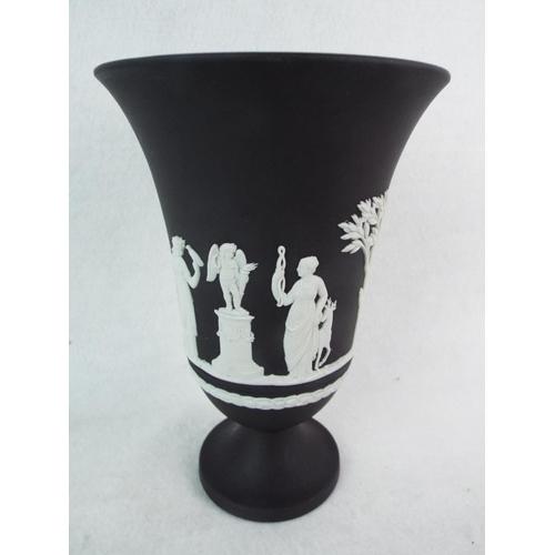 54 - Wedgwood Black Basalt Jasper pedestal vase. 7.5 inches tall. Excellent....