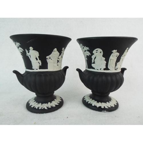 56 - Pair of Wedgwood Black Basalt Jasper small Urn vases. 3.5 inches tall....