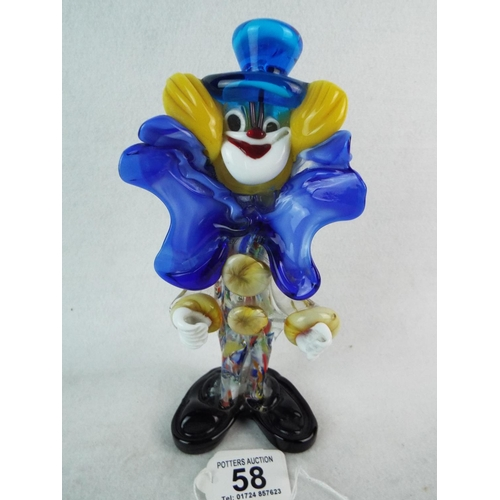 58 - Murano glass clown. 8 inches tall....