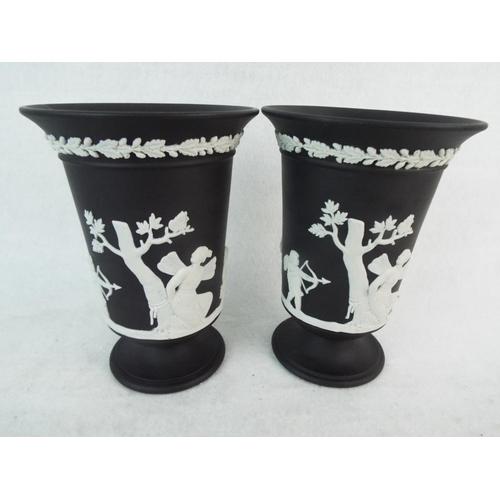 60 - Matching pair of Wedgwood Black Basalt Jasper pedestal vases. 5.5 inches tall. Excellent....