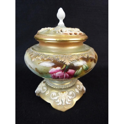 8 - Royal Worcester pot pourri jar with pierced lid, some restoration evident. Dates to 1907.  5 inches ...