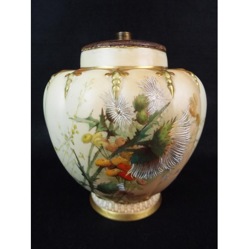 9 - Royal Worcester vase converted to lamp base. Hand painted, late Victorian....