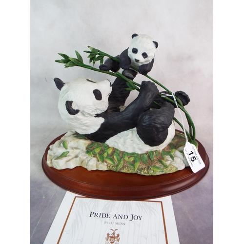 Franklin Mint Panda Figure Pride Joy On Wooden Plinth 8 X 12