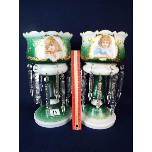 14 - Near pair of Edwardian milk glass lustres with all glass present. No damage. 14 inches tall....