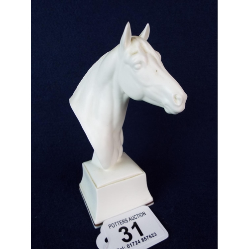 31 - Royal Worcester equine bust.  'Astrope'.  Excellent condition. 5.5 inches tall....