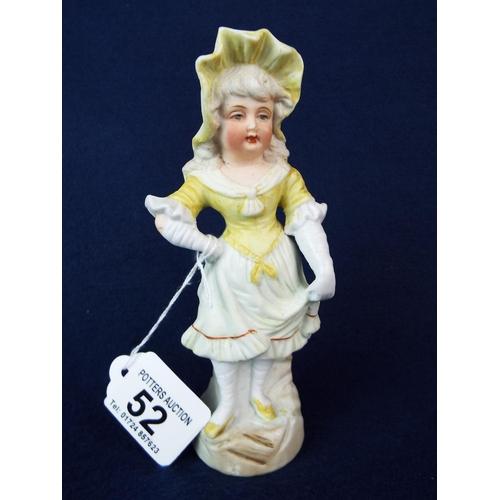52 - Continental bisque slipware figurine.  7 inches tall....