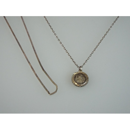 37 - 925 Silver St Christopher & Chain plus one other 925 silver box link chain....