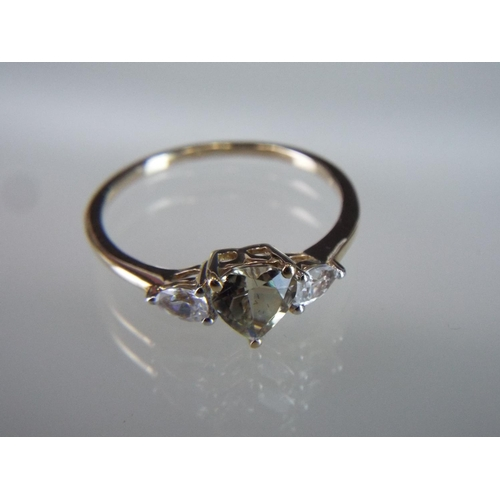 40 - 9ct gold Turksite set ring with Tanzanian Zircon stones....