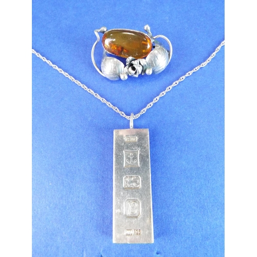 42 - Solid Silver hallmarked ingot plus lovely silver Amber set brooch....