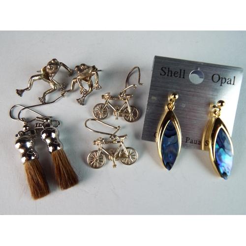 48 - Three pairs of novelty silver earrings plus Opal shell earrings on metal mount as new....
