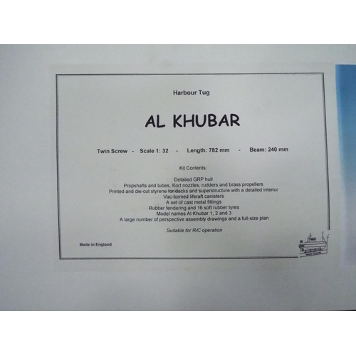 10 - 1:32 Scale model of a Harbour Tug 'Al Khubar' boxed kit for assembly believed to be complete but wit...