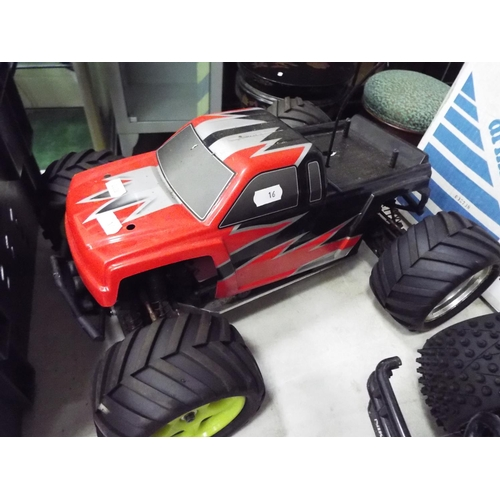 16 - Radio controlled model fuel engined buggy model 16 inches long. Working condition unknown.