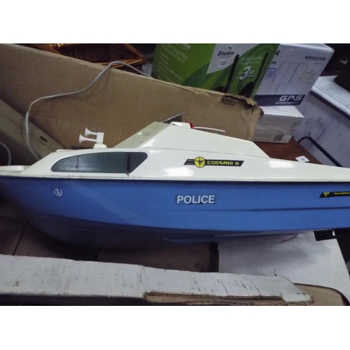 3 - Monte Leone police river cruiser with remote. With original box . Working ondition unknown. 18 inche...