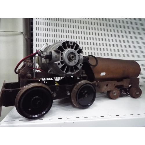 4 - Large Home made Railway bogie with electric motor. 24 inches long. Working condition unknown....