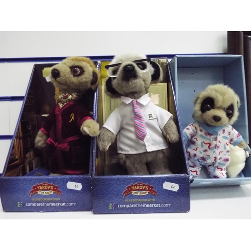 44 - Three boxed Meerkats in unused condition...