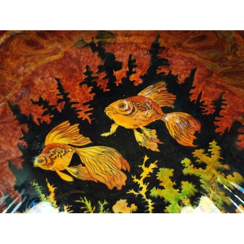 13 - Old Foley Lustreware dish depicting Ornamental gold fish. 10 inches in diameter.