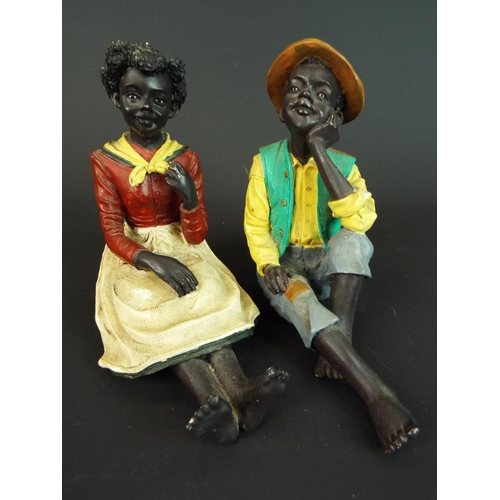 15 - Charming pair of hand painted ceramic Negro figurines. Each five inches tall. Possibly 1920's era, N...