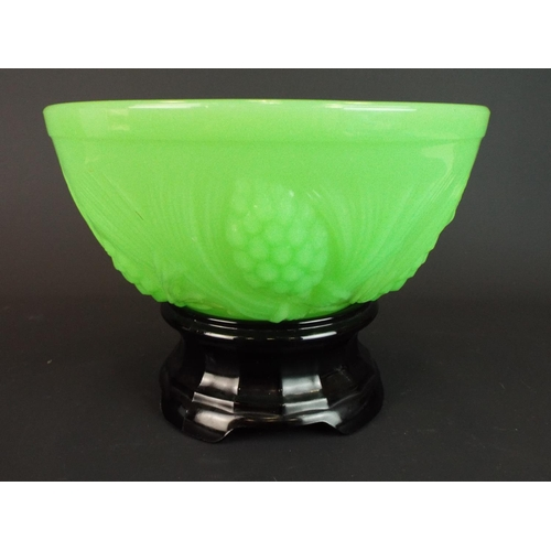 16 - 1930's Art Deco Jobling jade green glass bowl decorated with fir cones. Comes with original frog and...