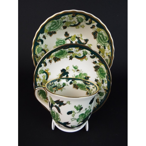 37 - Masons Ironstone cup saucer and bowl in the Green Chartreuse pattern