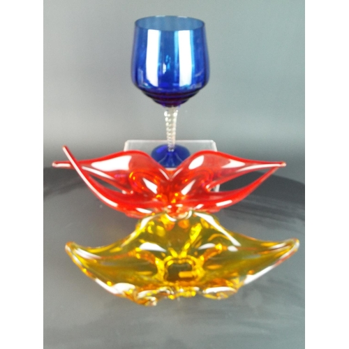 45 - Selection of coloured art glass