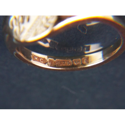 51 - 9ct Yellow gold signet ring. Finger size 'N'   4.5g. Nicely hallmarked for Birminham 1991