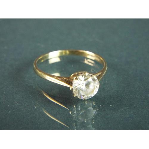 52 - 9ct Yellow gold CZ set dress ring. Finger size  'N-5'   1.5g