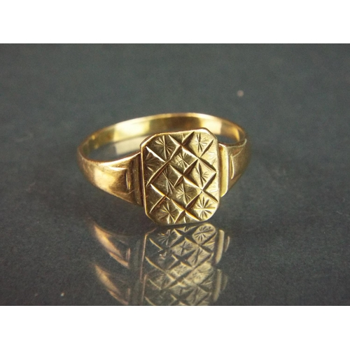 60 - 9ct Yellow Gold signet ring.  Finger size 'R'   1.8g