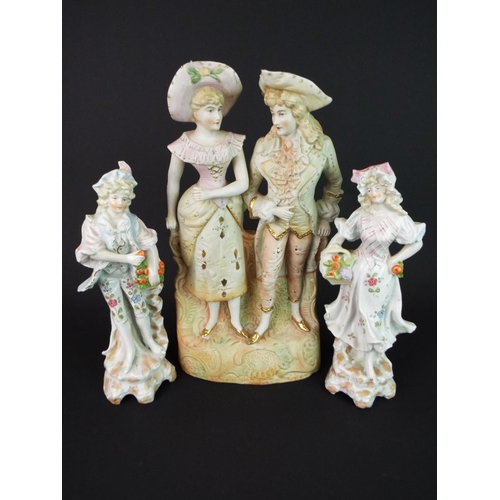 7 - Pretty Matched pair of Continental figurines plus a bisque porcelian double statue.
