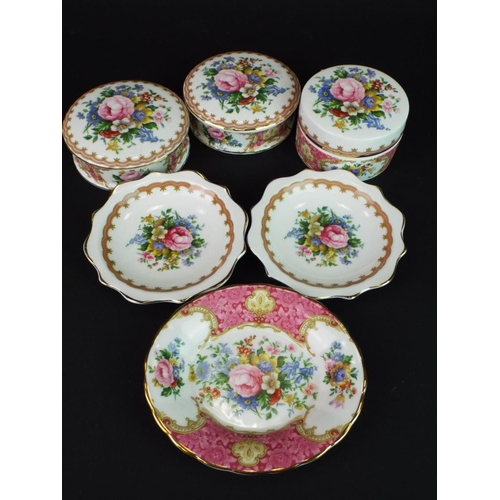 9 - Royal Albert trinket boxes and pin dishes in the Lady Carlisle pattern.
