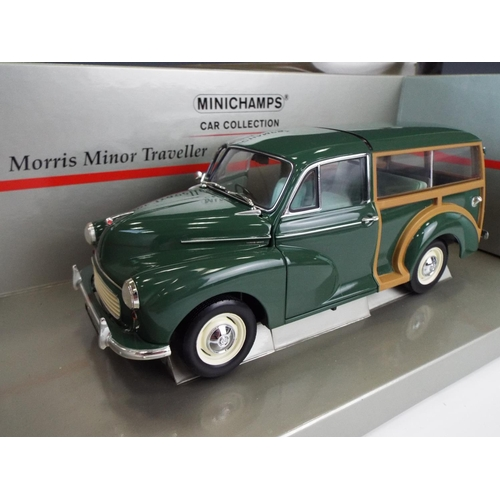 13 - Minichamps, 1:18 die cast scale model of a Morris 1000 traveller. Unused condition. 18 inches long.