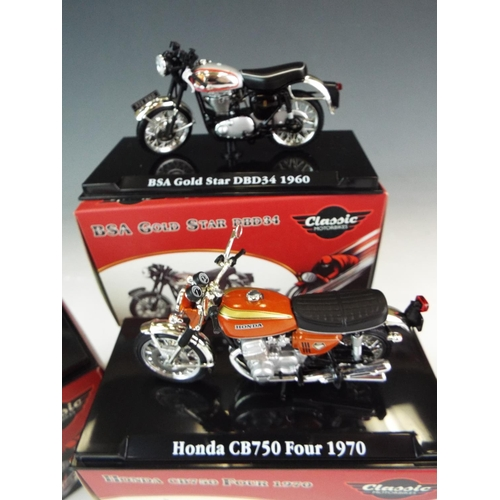 15 - Four, Atlas 1:24 Scale die cast model motorcycles. All boxed and unused condtion