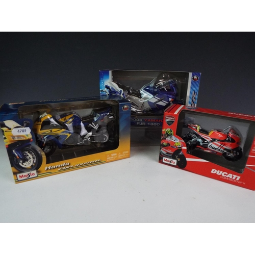 19 - Three Maisto  die cast detailed scale models of Motorcycles. Boxed and unused.