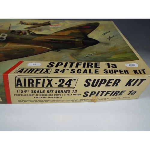 24 - Airfix 1:24 Scale model Kit of a Spitfire . Believed to be complete but unchecked.