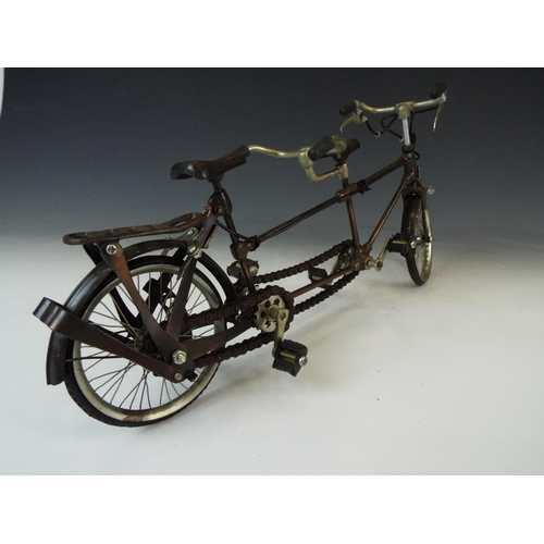 3 - Detailed metal model of a tandem bicycle. Working crank and chains.    16 inches long.
