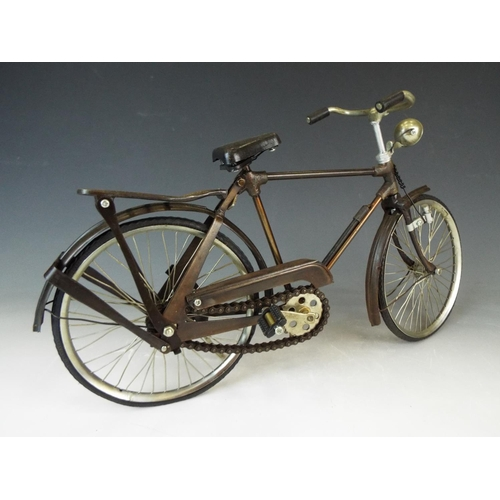 4 - Large and detailed model of a Gentlemans Touring Bicycle. Rubber tyres, working crank and chain. Spr...