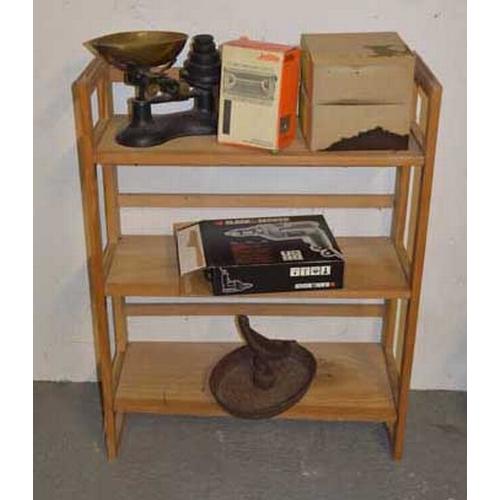 19 - A Set of Shelves and Contents, Including a Boot Scraper etc...