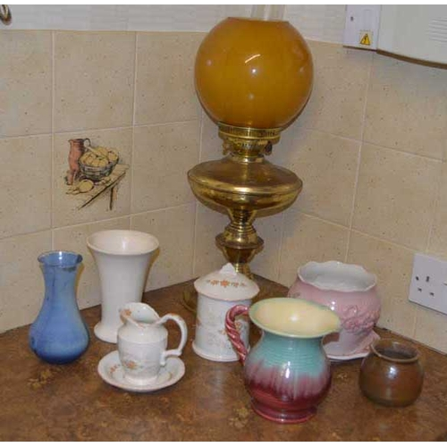 44 - An Oil Lamp and a Sundry Lot of Plates etc...