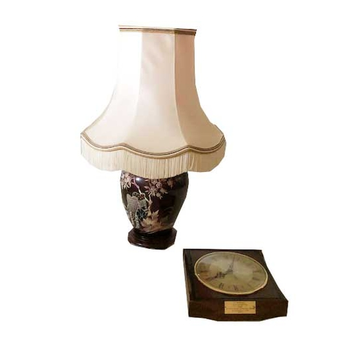 50 - A Nice Pottery Table Lamp and Shade and a Wall Clock...