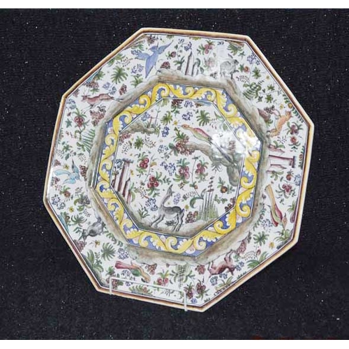 33 - A Large Hand Painted Hexagonal Plate