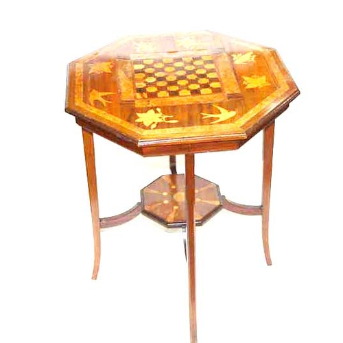 37 - A Marquetry Topped Chess Table