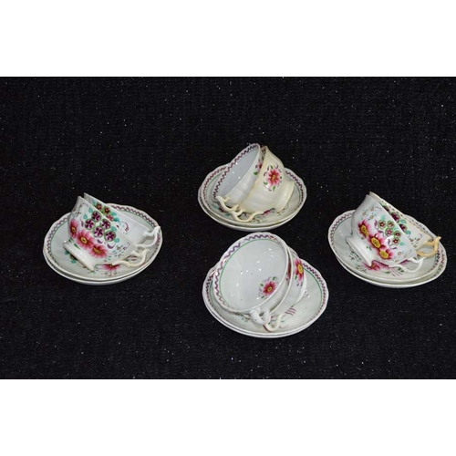 42 - A Set of 19th Century Hand Painted Cups and Saucers