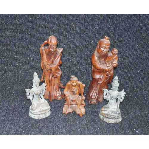 46 - Three Oriental Wooden Figurines and A Pair of Bronze Deities