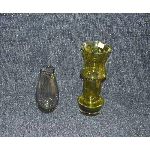 51 - A Holmegaard Glass Vase and An Olive Green Aladdin Vase