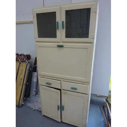 2 - Retro kitchen unit with glass doors in the top unit & green handles...