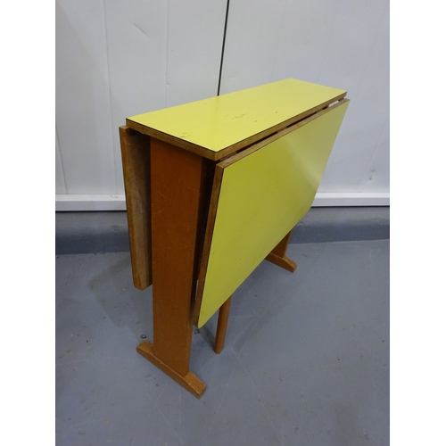 5 - Yellow formica drop leaf folding table...