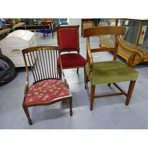 27 - 3x antique wooden chairs...