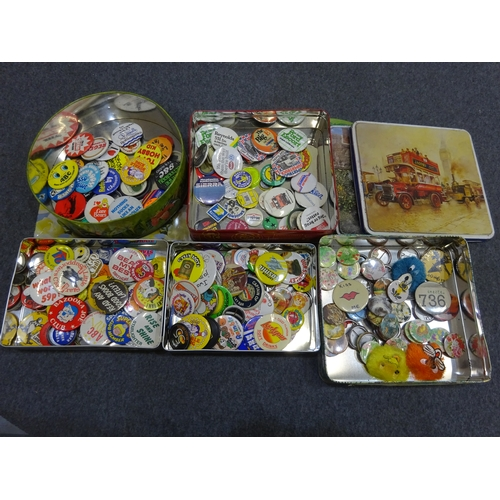 402 - Collection of vintage tins with retro badges...