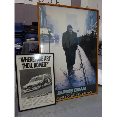 403 - Large James Dean framed photo w/ retro rally poster...