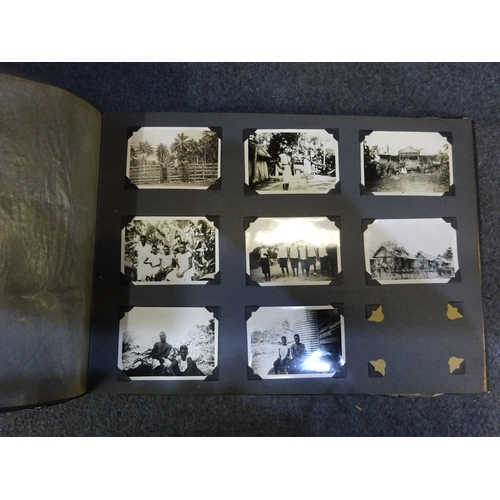 51 - (V) Paper mache 1940s oriental photo album w/ abalone eagle on cover. Contains military photographs...